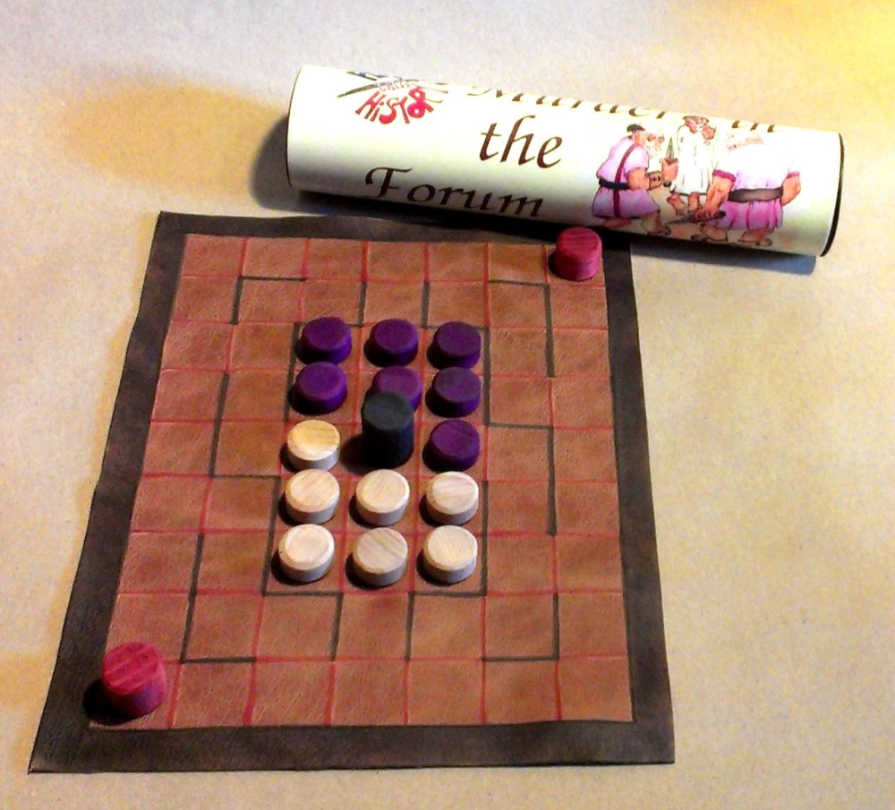 Murder in the Forum abstract strategy board game; leather board and wooden