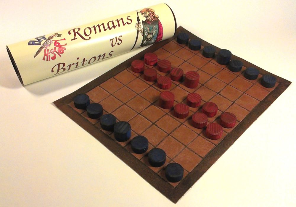 Romans vs Britons abstract strategy board game; leather board and wooden co