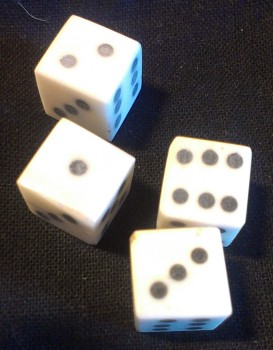 Detail of solid-pip bone dice from The Historic Games Shop