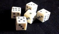 Five solid-pip bone dice