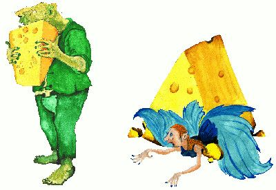 Faeries board game cover artwork - troll clutching cheese and faerie squashed by cheese