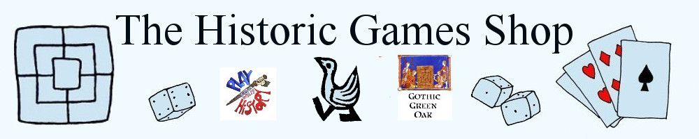 Banner for The Historic Games Shop, showing Nine Men's Morris board, dice, playing cards, our Gothic Green Oak logo, and other images