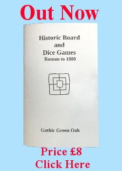 Historic Board and Dice Games Book out now banner and link to shop page