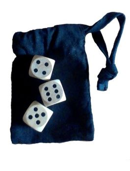 Medieval dice-games set - three modern wood dice