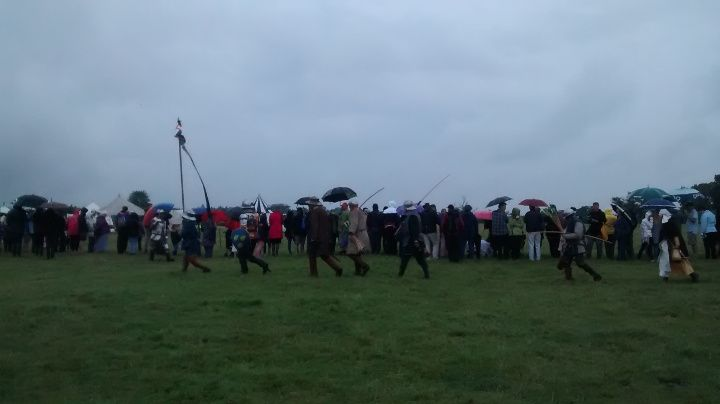 Umbrellas were essential for watching the battle!