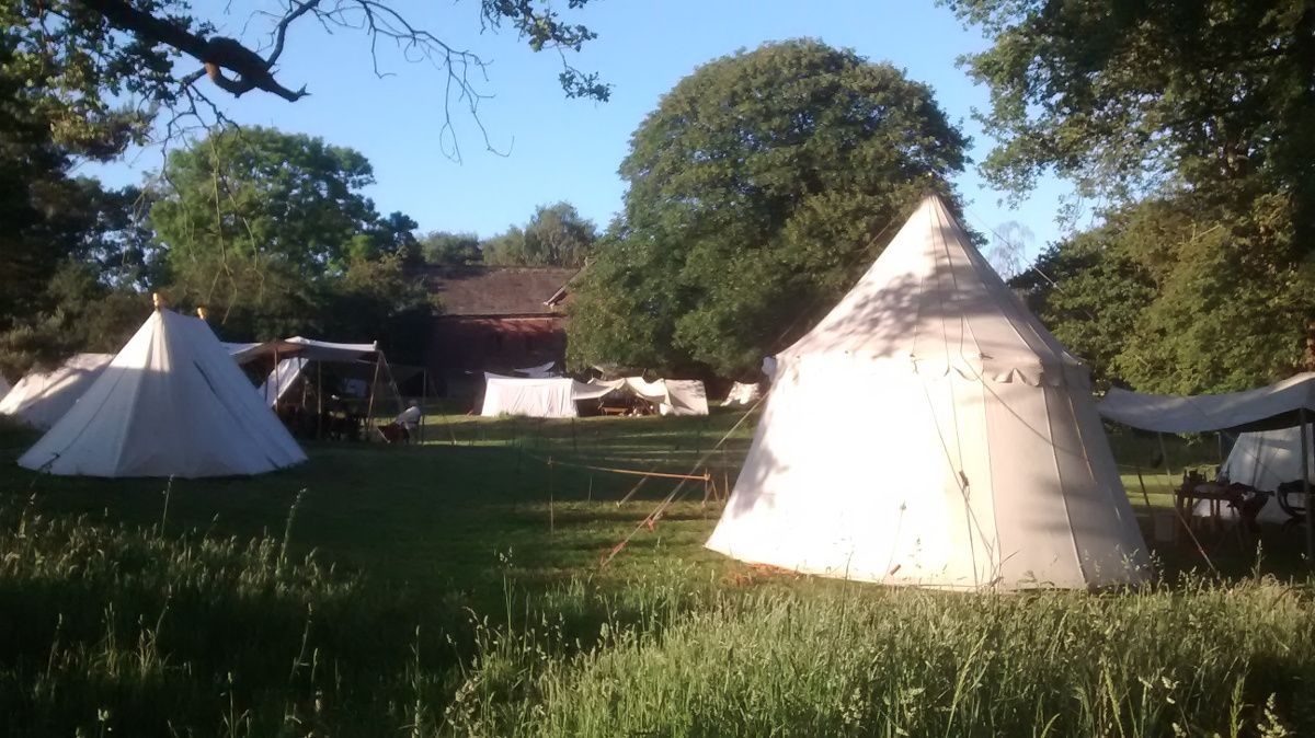 One of the Living History encampment with Tatton Old Hall behind