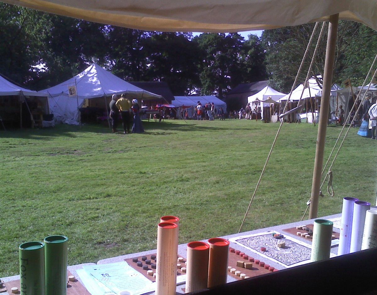 View of Tatton Medieval Fair from within The Historic Games Shop 2018