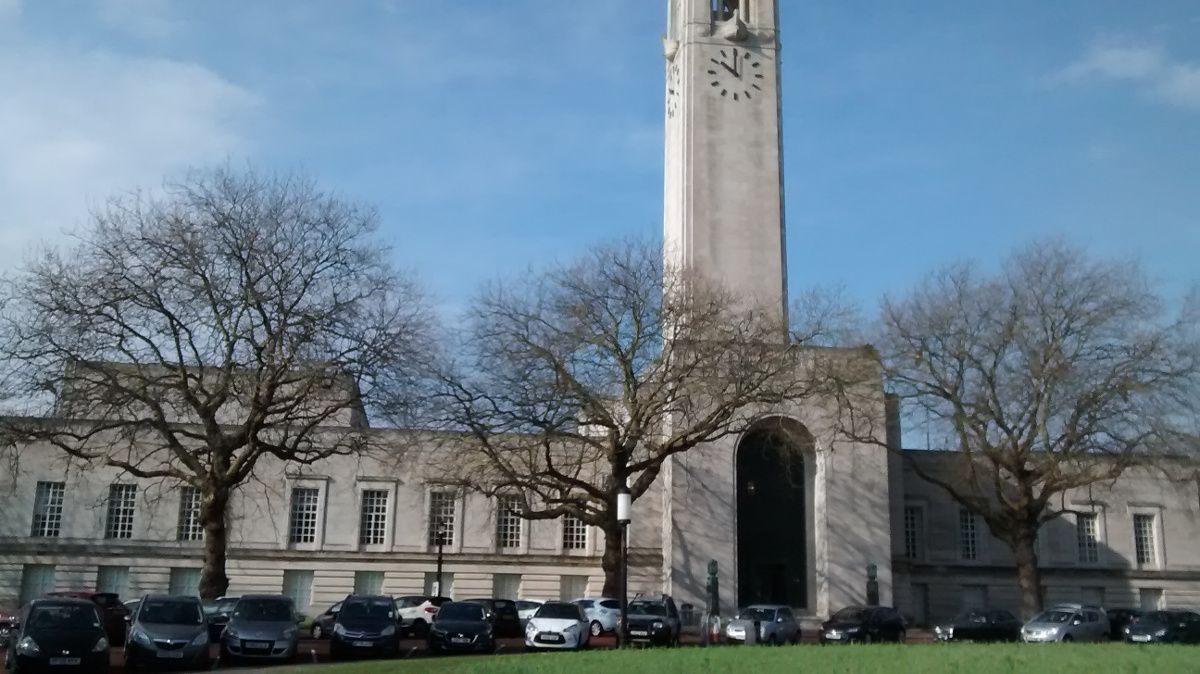 The Neoclassical 1930s Swansea Guildhall, showing the clocktower...