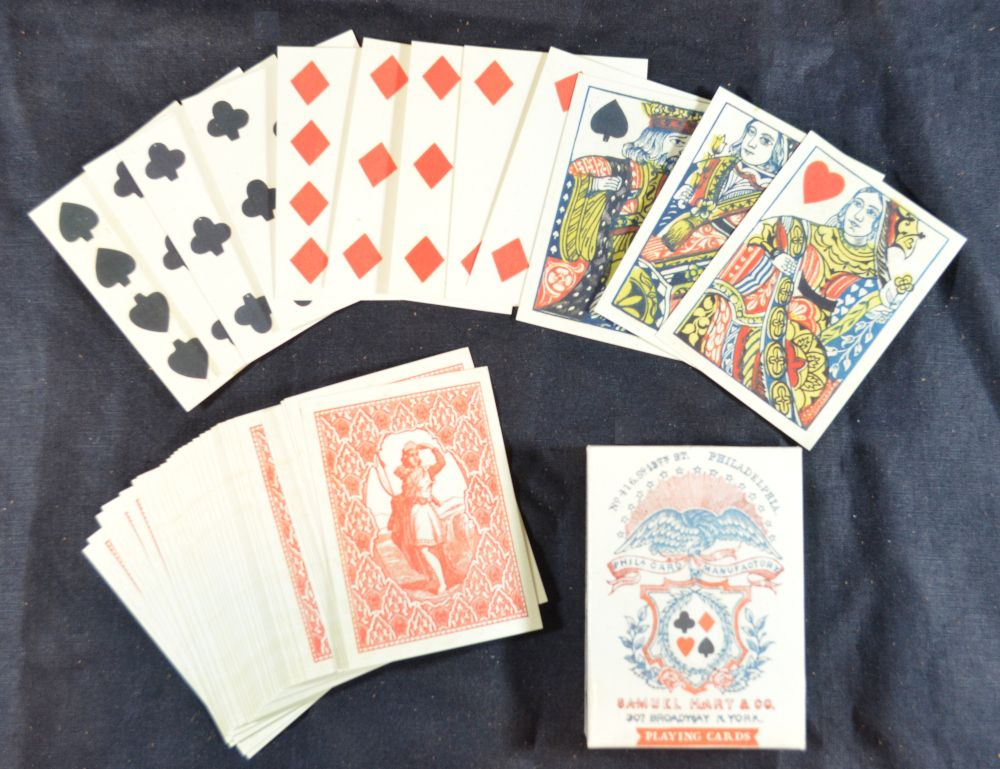 Reproduction playing cards by Samuel Hart, 1858