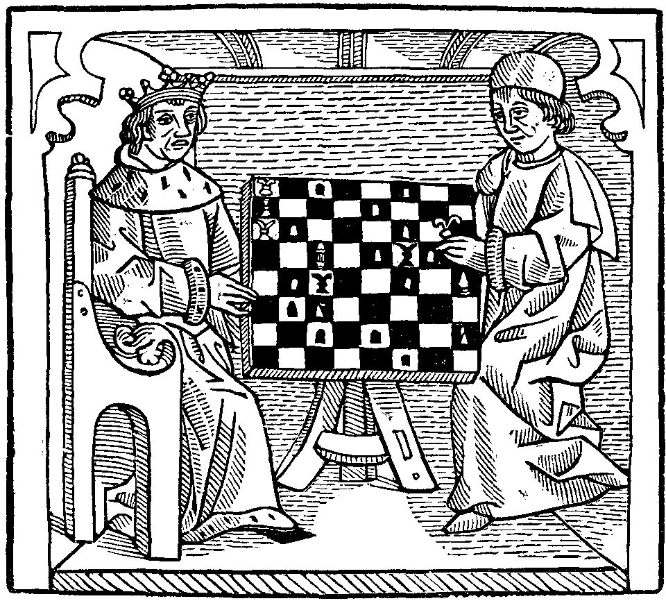 Philosopher and King playing chess, Caxton's The Game and Playe of the Chesse