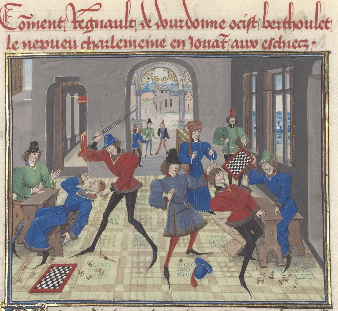 Fight over a game of chess, from the C15th Regnault de Montauban manuscript