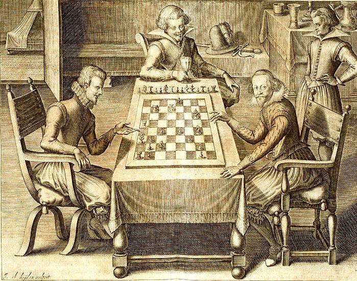Chess game from Das Schach-oder König-Spiel by  Gustav Selenus
