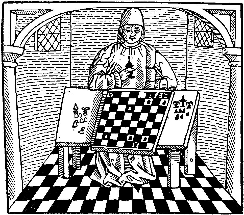 Philosopher and chess board from Caxton's The Game and Playe of the Chesse