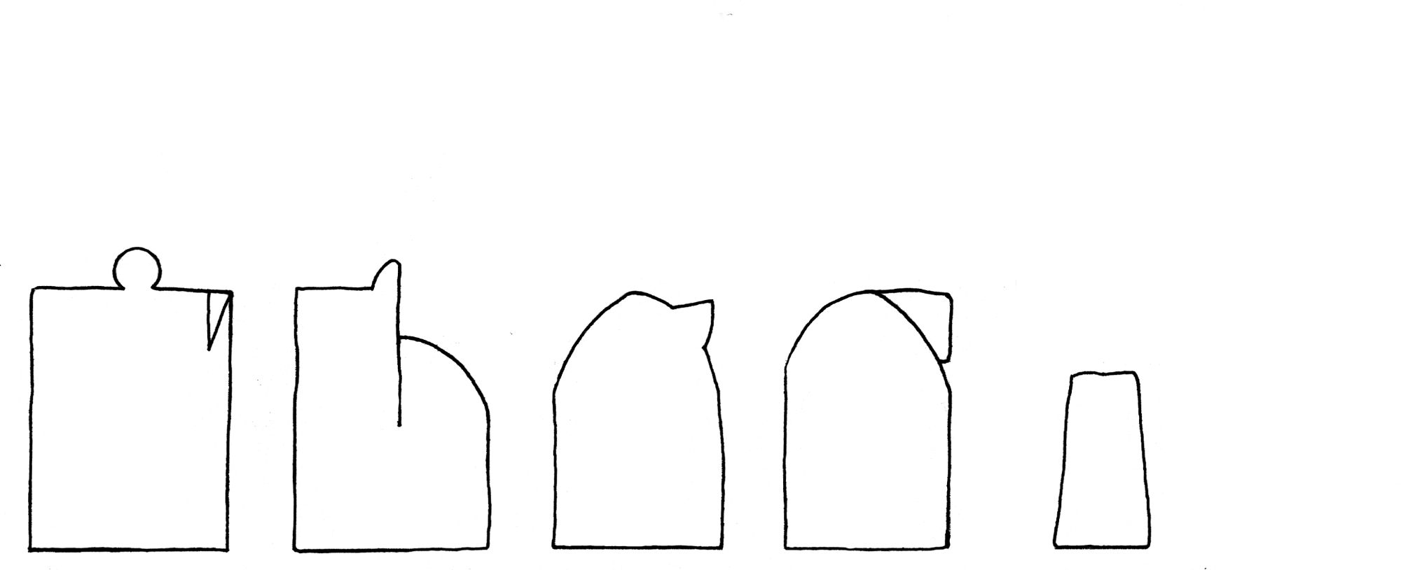 Early medieval chess set - interpretive diagram, viewed from the side