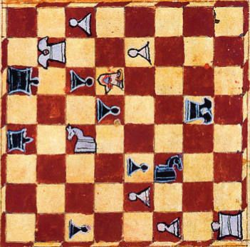Detail of chess board and pieces from the Alfonso manuscript