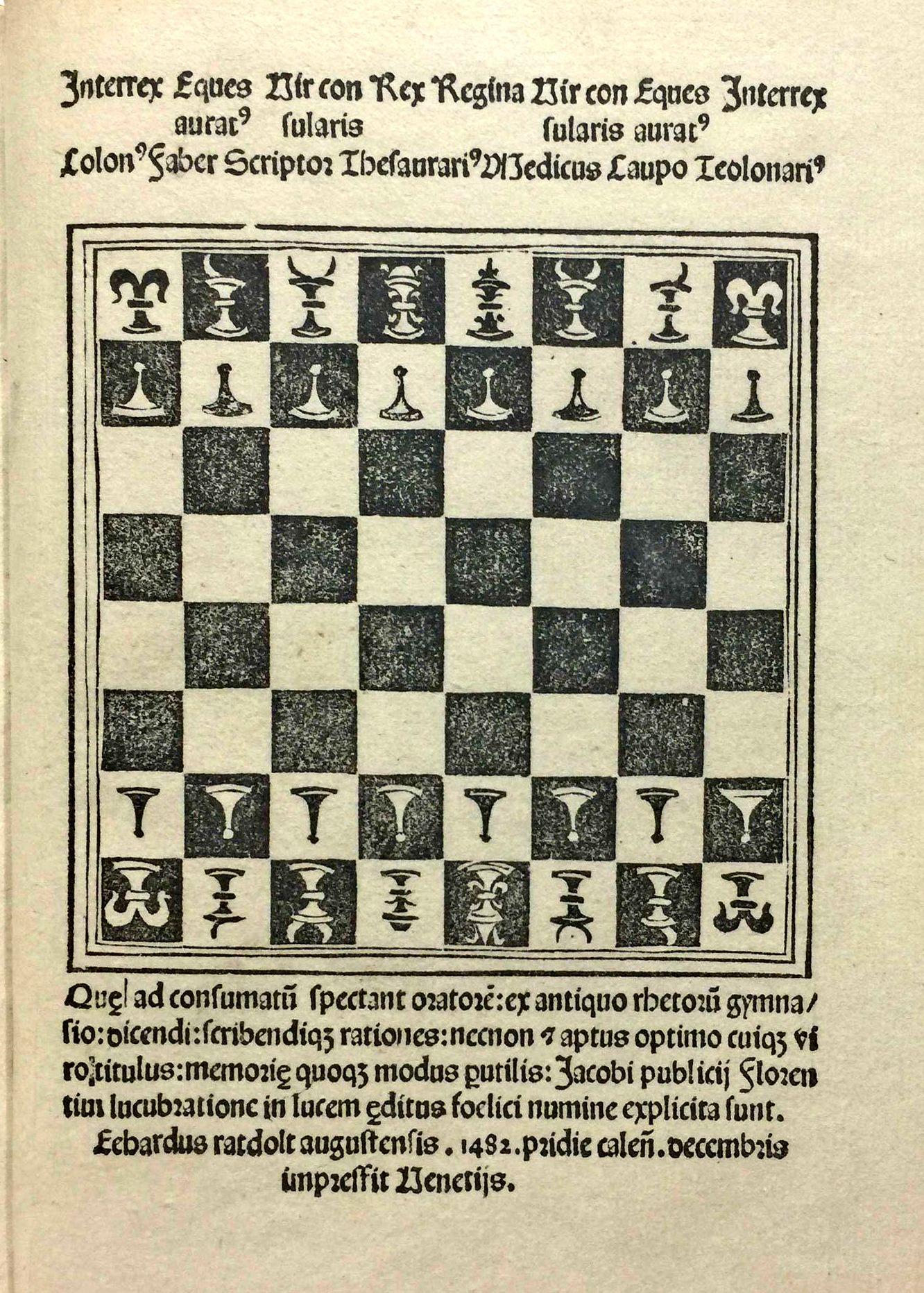 Chess set and layout from the Ars oratoria; Ars epistolandi; Ars memorativa of Jacobus Publicius