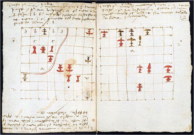 The Pacioli chess set from De Ludo Scachorum; possibly designed by Leonardo da Vinci