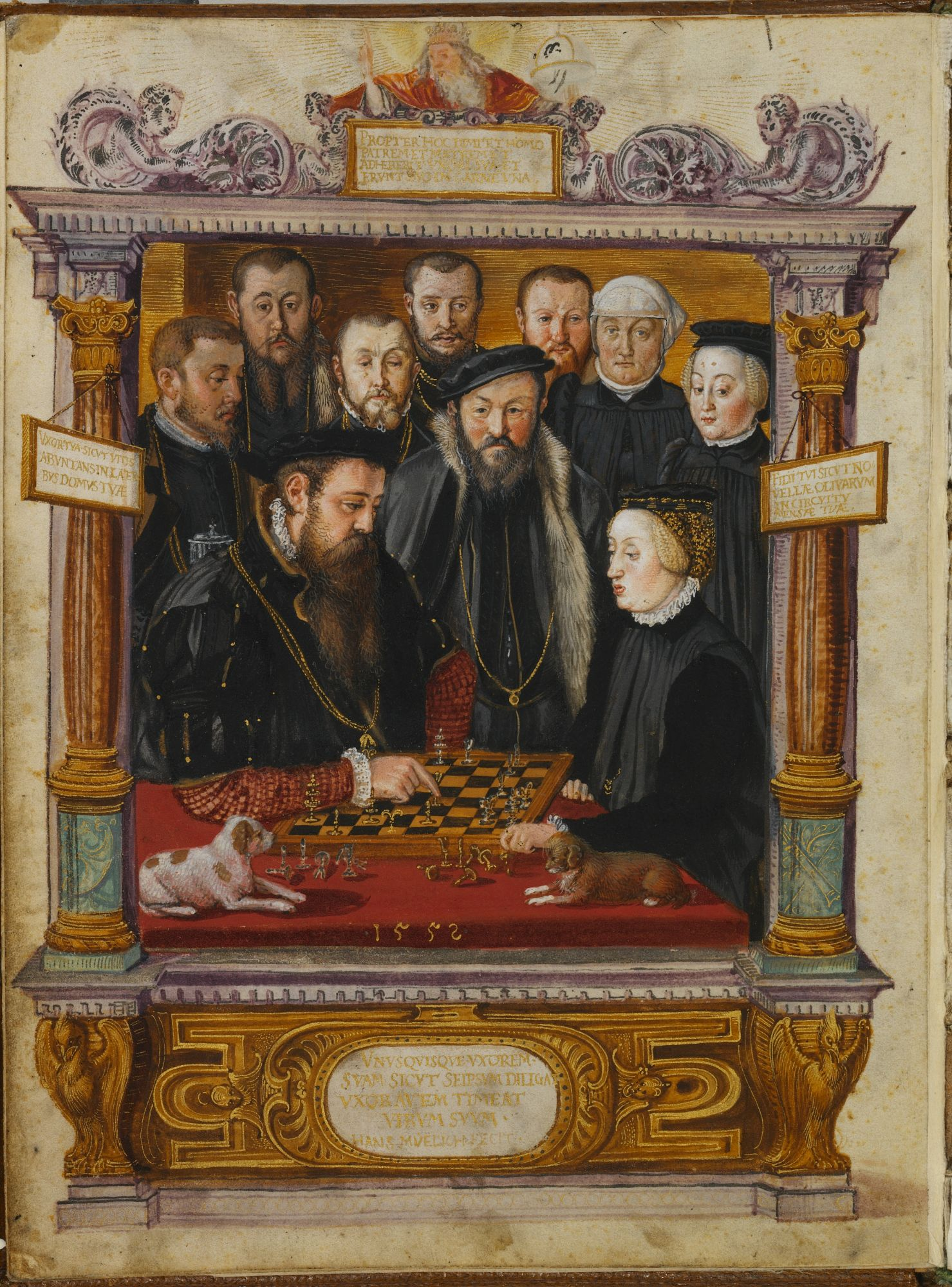Duke Albrecht V and Duchess Anna of Bavaria playing chess, from The Jewel Book of 1552