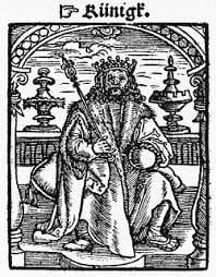 The king from the Kobel edition of Mendel's Schachzabel