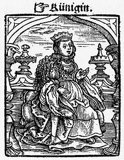 The queen from the Kobel edition of Mendel's Schachzabel