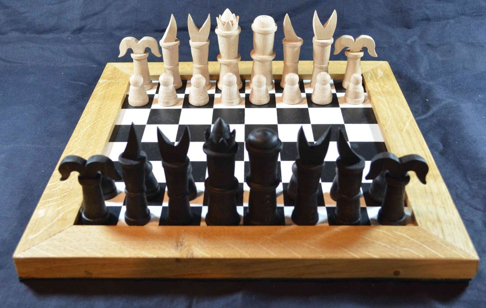 Reconstruction of the Publicius chess set, shown on our painted medieval ch