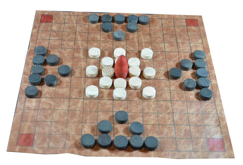 Hnefatafl, large leather version of the 13 x 13 tafl game