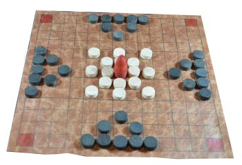 Hnefatafl, 13 x 13 squares, leather board, with playing pieces in a leather pouch