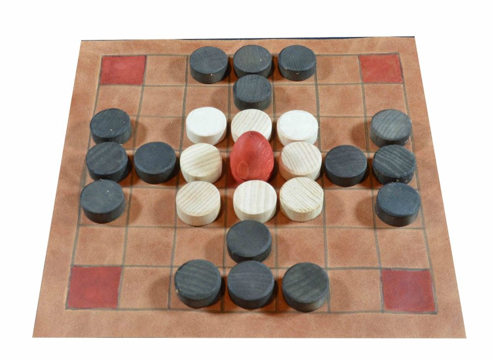 Leather tafl board of 7 x 7 squares, with layout for Fitchneal