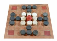 Fitchneal and Brandubh - our leather version of two Irish tafl games