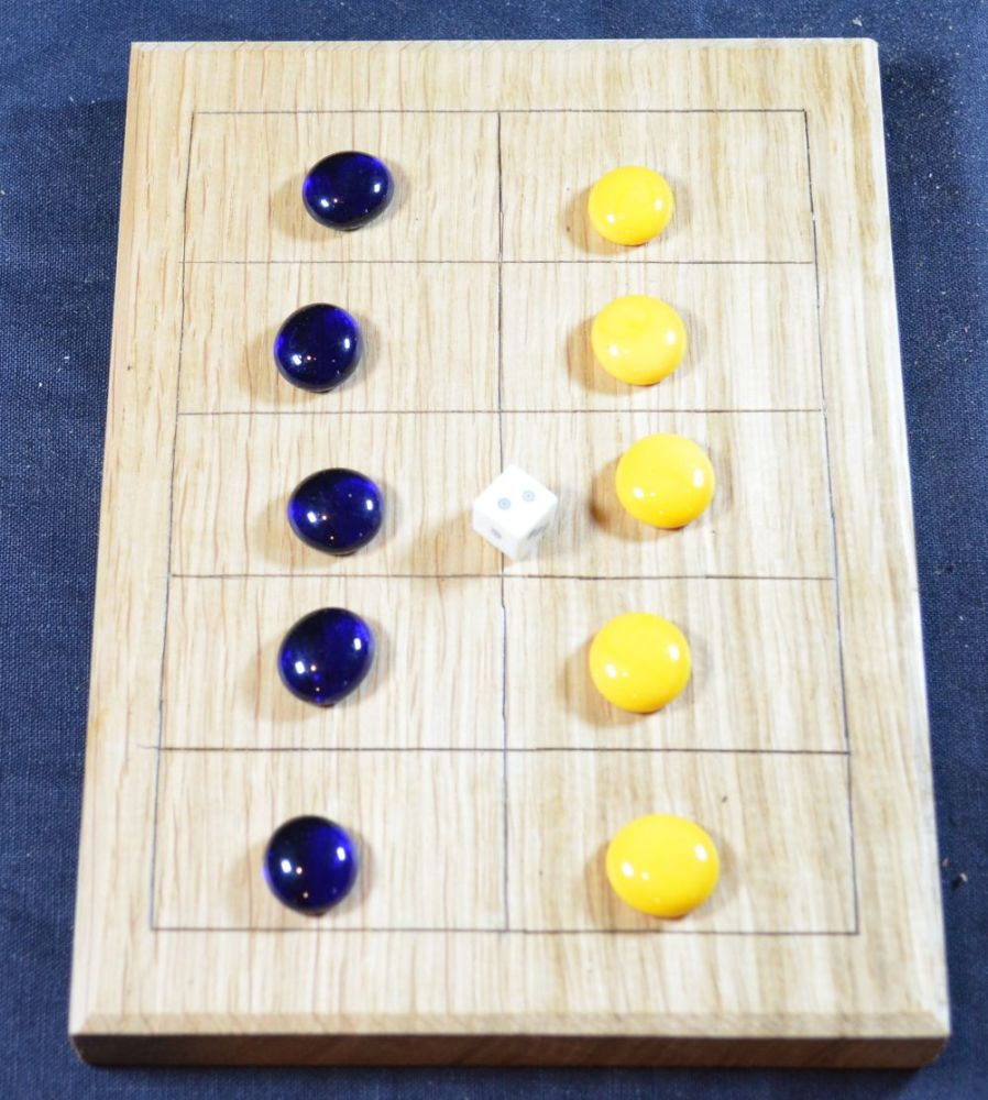 Oak Five Lines board with glass counters and bone dice