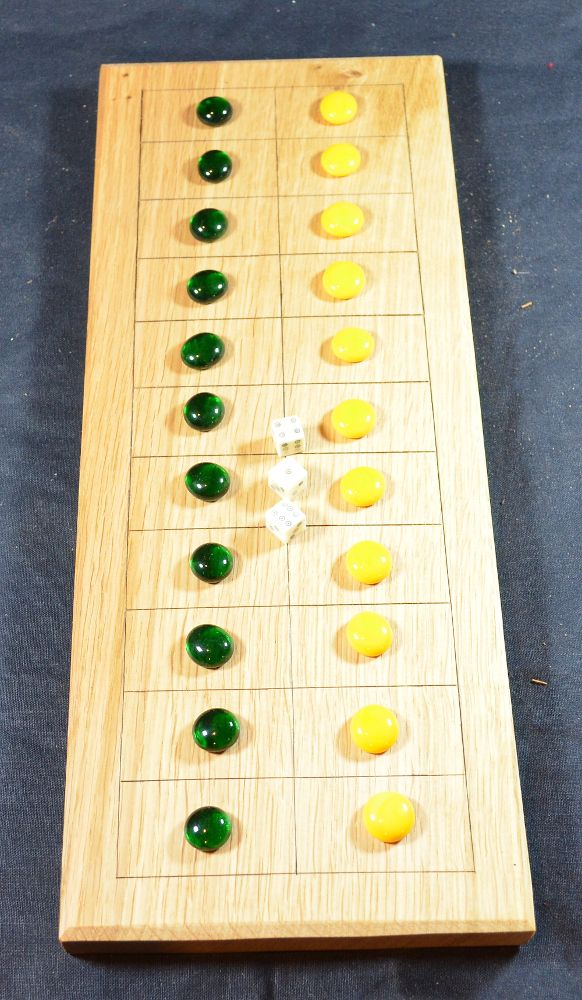 Oak Eleven Lines board with glass counters and bone dice