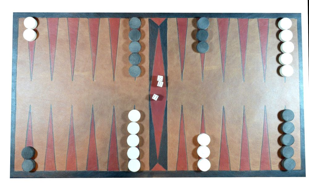 Leather Tables or Backgammon board, with beechwood counters and bone dice