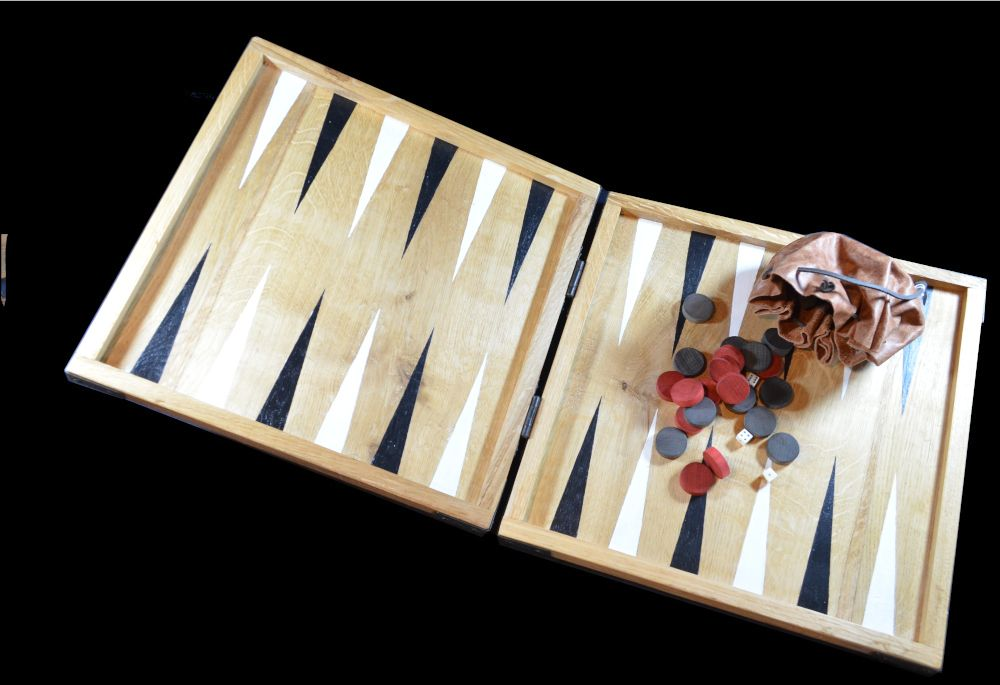 Reproduction seventeenth century-style backgammon board, with painted point
