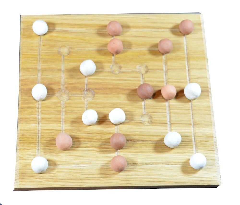 Small oak Nine Men's Morris board with ceramic playing pieces