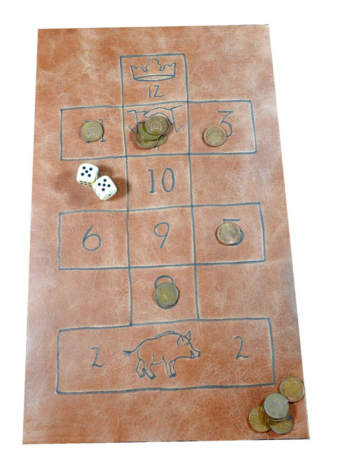 Leather House of Fortune board; showing game in play with wooden dice and p