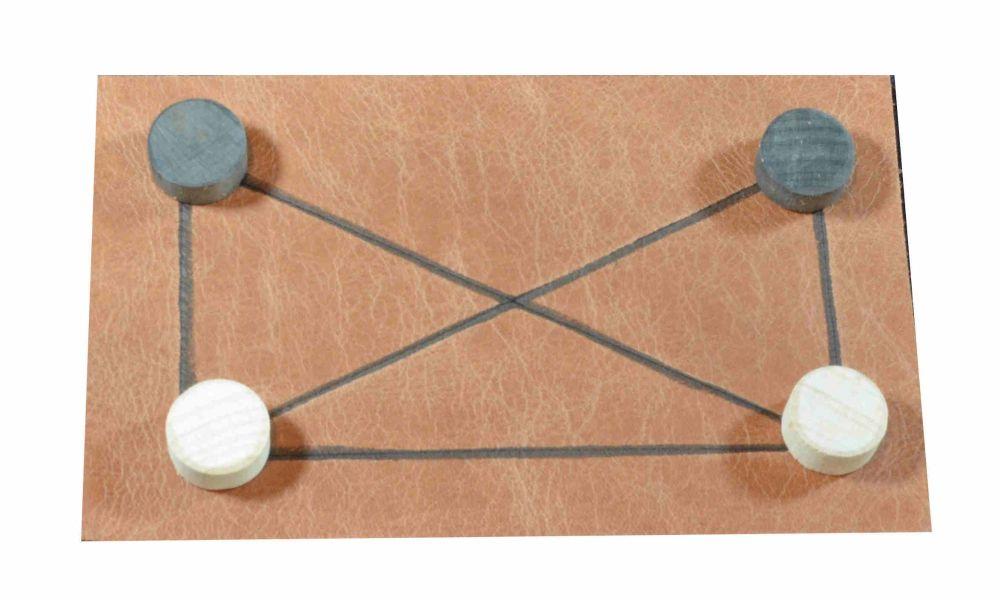 Horseshoe, leather board and beechwood counters