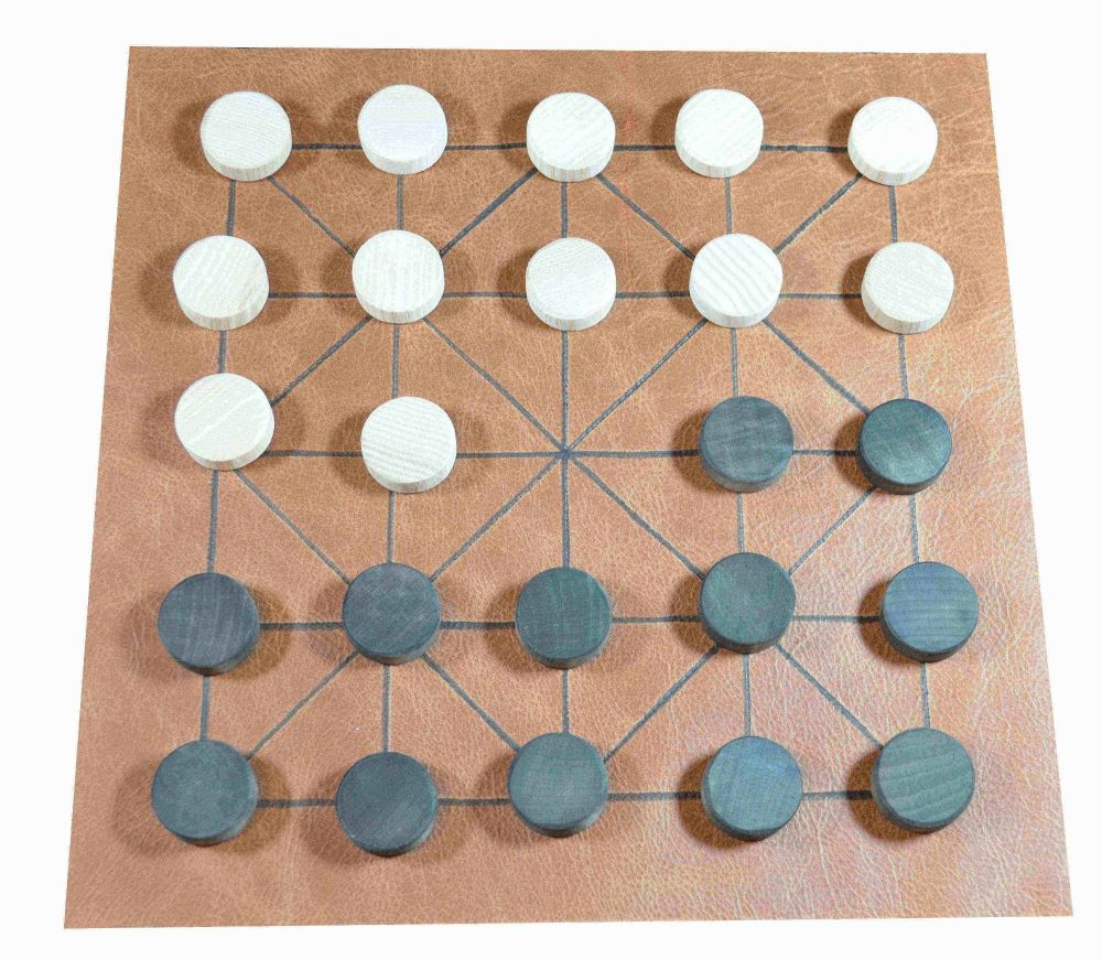 Leather Alquerque board with beechwood playing pieces