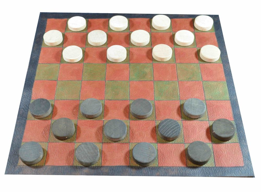Draughts board with red and green squares, and natural and black beech wood
