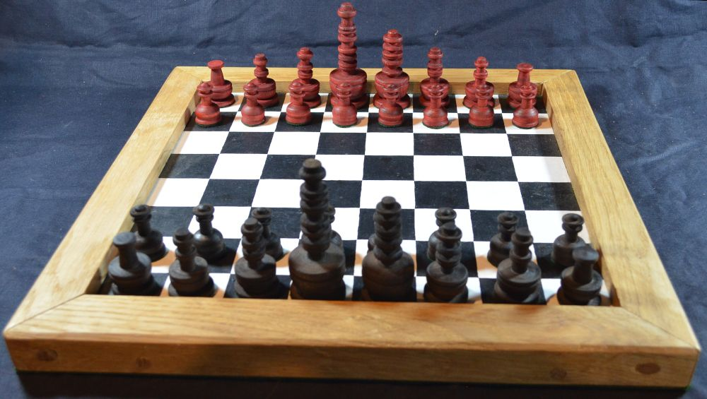 Reproduction eighteenth century French chess set shown on one of our our pa