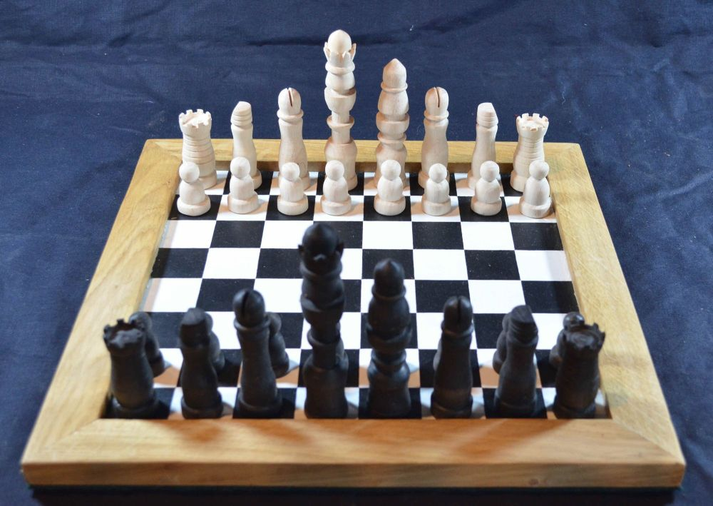Reproduction eighteenth century chess set shown on one of our our painted c
