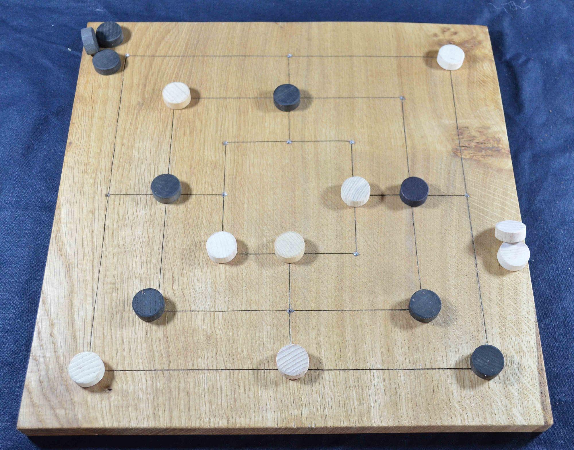 Reconstruction of Gokstad game board – Nine Men's Morris side