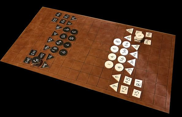 Rithmomachia - leather board with hand-painted pieces