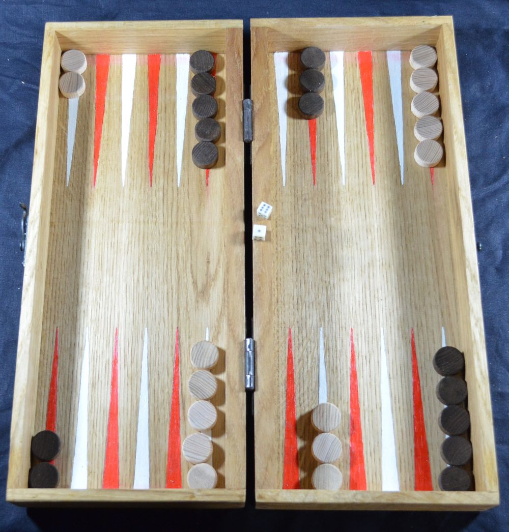 Reproduction eighteenth century box backgammon board, with painted points, beech wood counters and bone dice