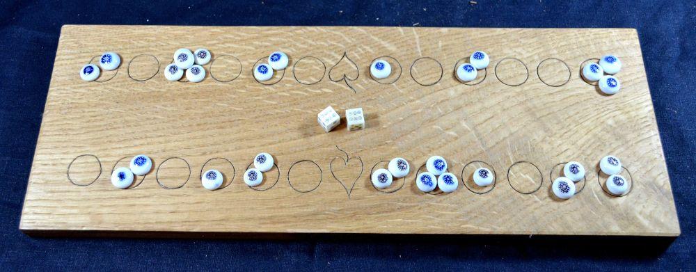 Duodecim Scripta or Alea, 2-row oak board with glass oculi counters and bone dice