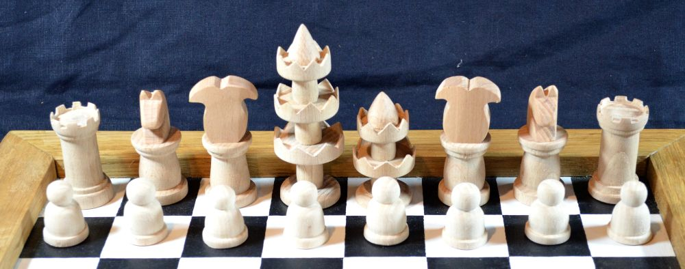 Selenus chess pieces – king, queen, bishop, knight, rook, pawn
