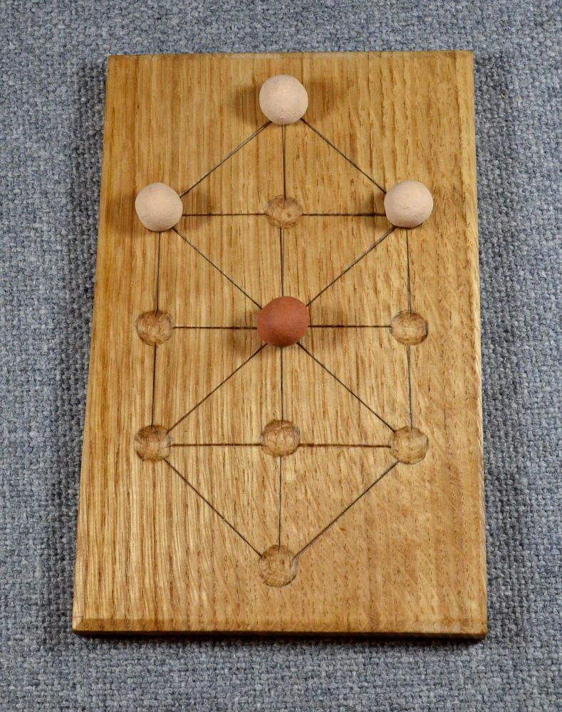 Hare or Soldiers' game - oak board with ceramic playing pieces