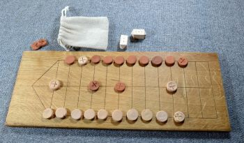The Game with No Name - oak board with fired clay playing pieces
