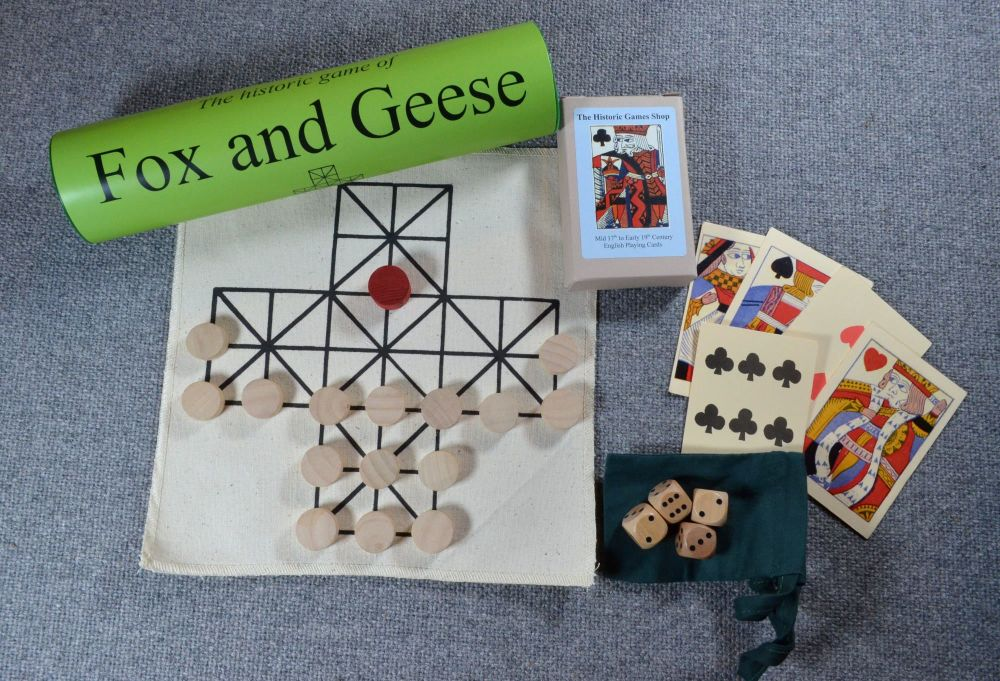 Seventeenth century reproduction playing cards; Fox and Geese board game; p