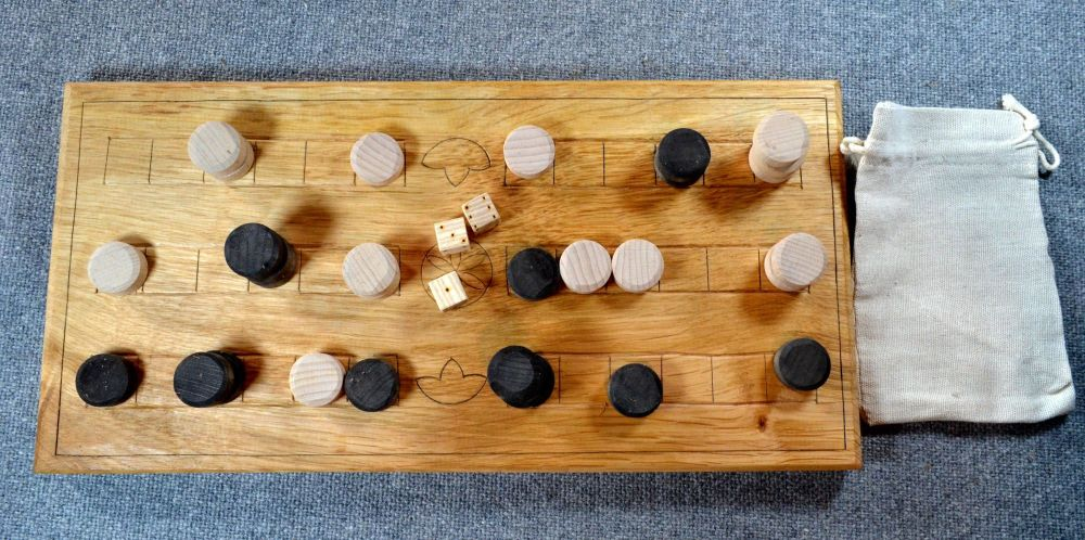 Duodecim Scripta or Alea, 3-row oak board with wooden dice and counters