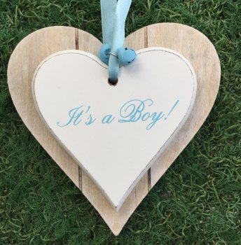 It's A Boy Hanging Heart